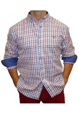 Camisa Spagnolo cuadros azules y granates