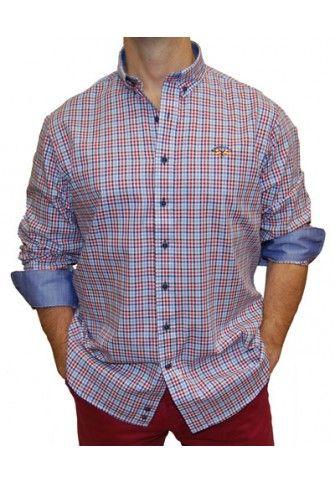 Camisa Spagnolo cuadros pequeños granates y azules