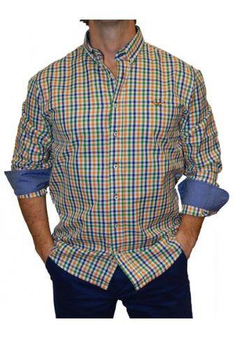 Camisa Spagnolo cuadros pequeños verdes, azules y camel
