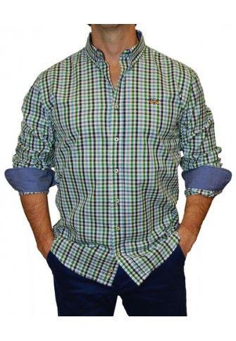 Camisa Spagnolo cuadros medios verdes y azules