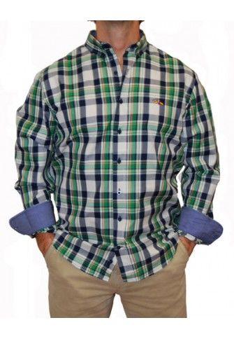Camisa Spagnolo cuadros grandes verdes y azules