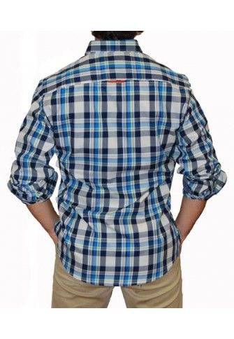 Camisa Spagnolo cuadros grandes azules
