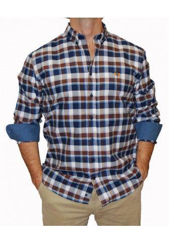 Camisa Spagnolo cuadros grandes azules y marrones