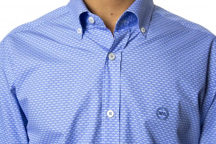 Camisa Mario Gretto azul dibujo pequeño