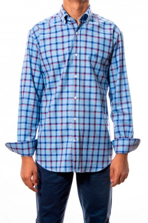Camisa cuadros medios azules