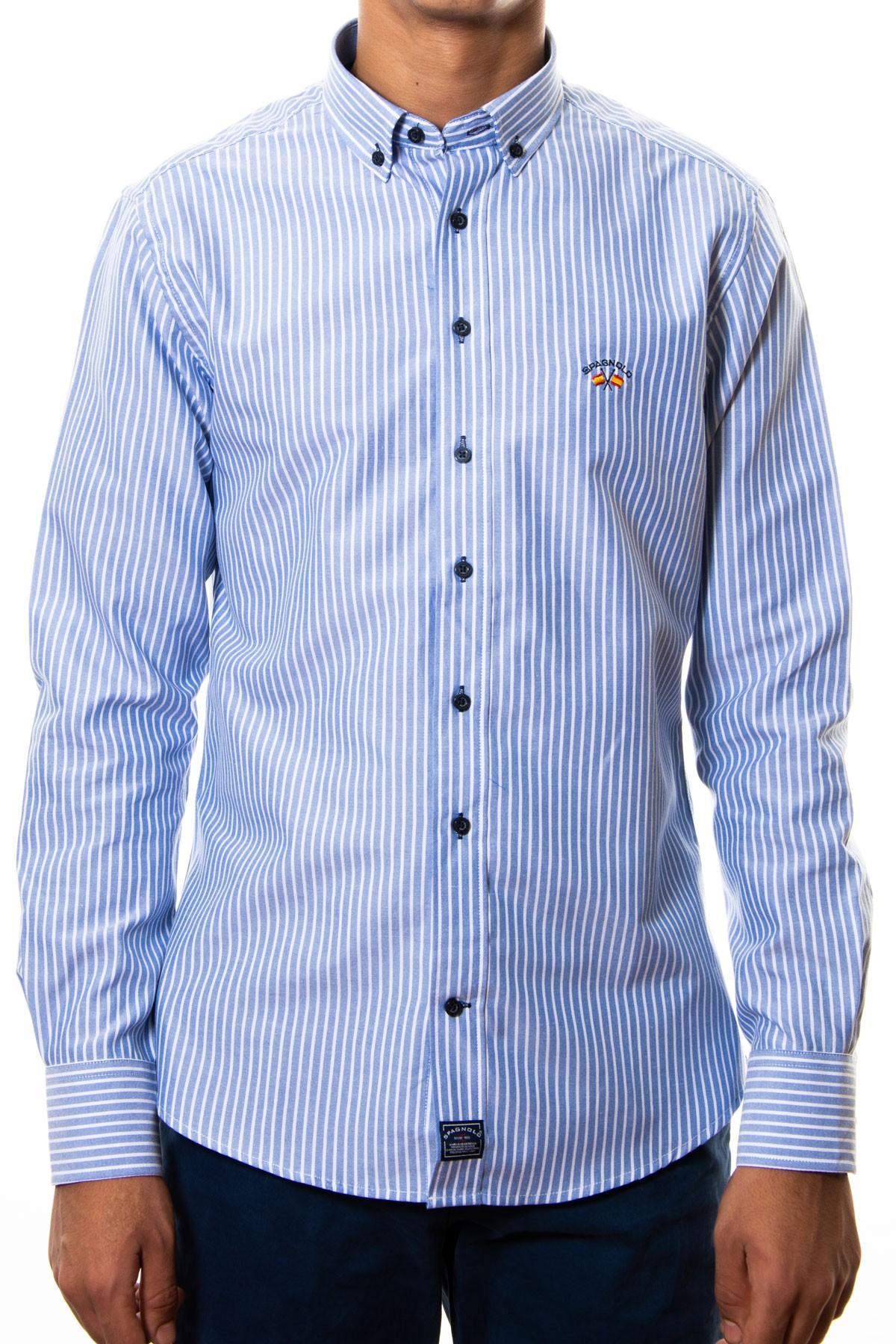 compra original el más baratas Nuevos objetos camisa spagnolo oxford rayas azules