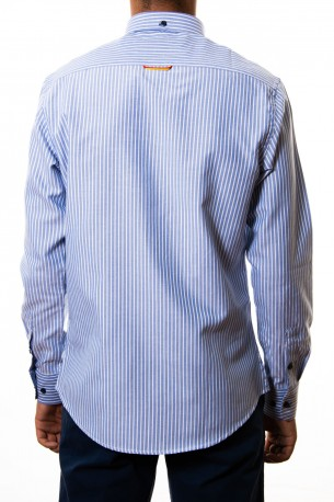 Camisa Spagnolo oxford en rayas azules
