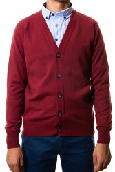 Cardigan coderas burdeos