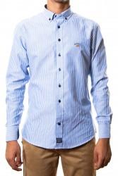 Camisa Spagnolo oxford rayas azul claro