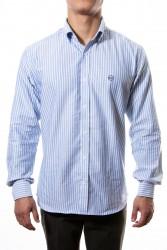 Camisa azul rayas oxford