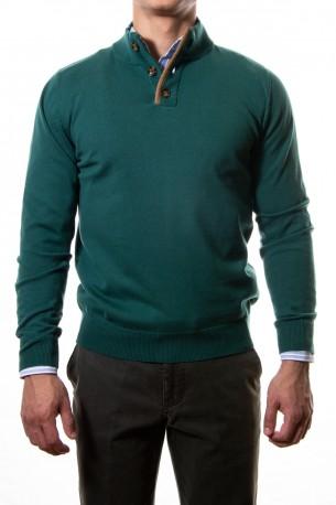 Sueter algodón coderas verde