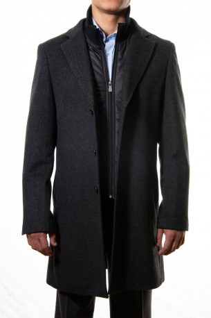 Abrigo corto gris cortaviento