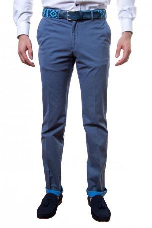 Pantalón azul algodón lavado