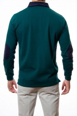 Polo verde cuello combinado