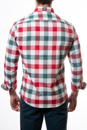Camisa Spagnolo cuadros grandes rojos y verdes