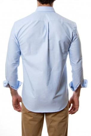 Camisa lisa azul tejido oxford