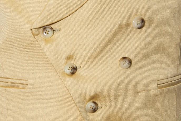 Chaleco liso cruzado en seda y lino
