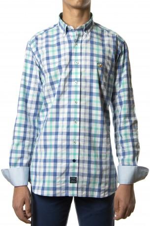 Camisa Spagnolo cuadros azules y verdes